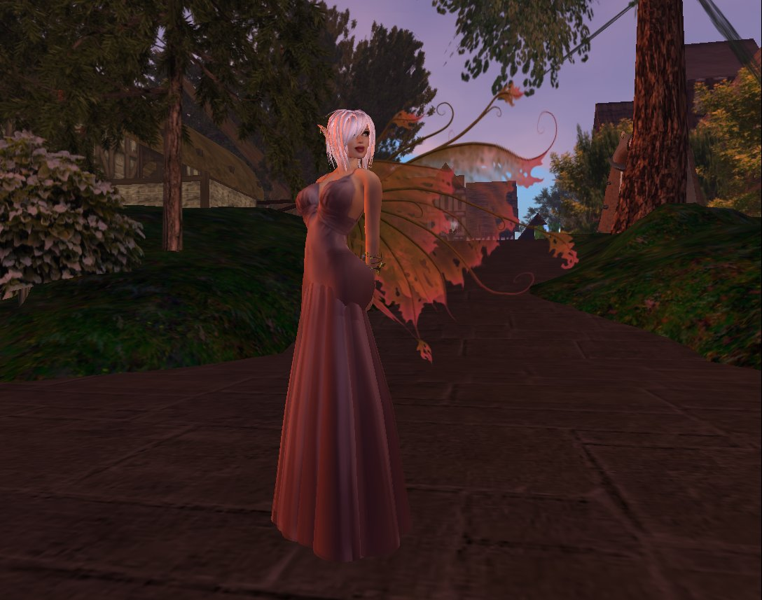 A Fae in Eldemar, near the human's marketplace (in background)