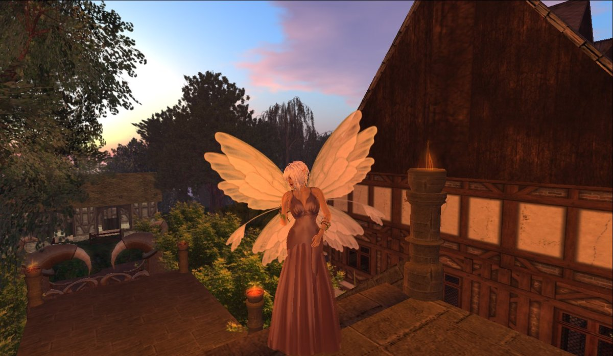 A Fae in Eldemar, near the human's Marketplace (background)