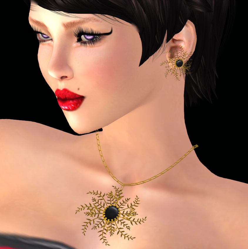 fern black and gold necklace