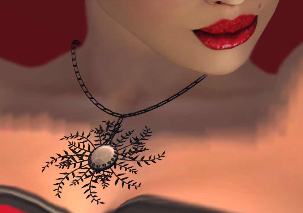 fern black and white necklace close