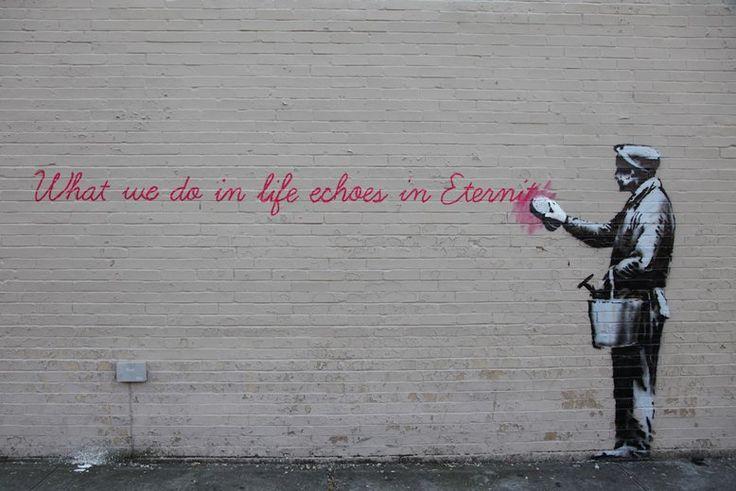 Banksy street art in Queens, NY